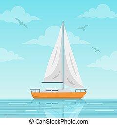 segelbåt, vektor, hav, illustration