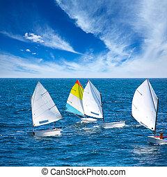 segelbåtar, optimist, inlärning, till segla, in, medelhavet,...