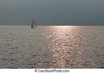 segelboot, auf, a, see, in, der, morgen