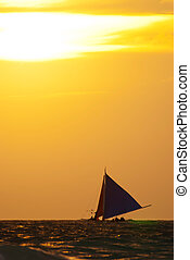 segelboot, auf, der, meer, unter, sonnenuntergang