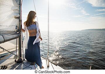segelboot, bleiben, frau