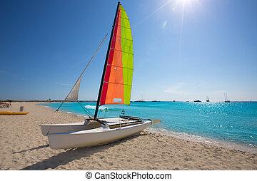 segelboot, formentera, sandstrand, katamaran, illetes
