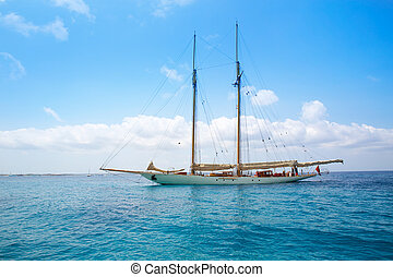 segelboot, formentera, yacht, geankert, illetas, illetes