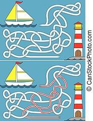 segelboot, labyrinth