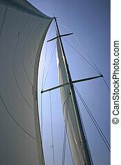 segelboot, mast, silhouette