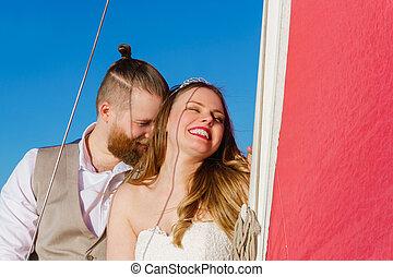 segelboot, paar, verheiratet, junger, gerecht
