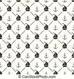 segelboot, seamless, form, vektor, muster, schiffsanker, linie