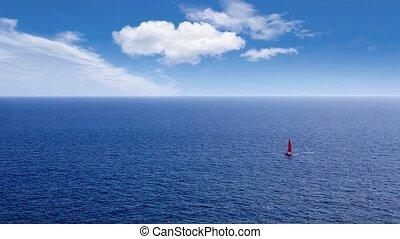 segelboot, segeln, in, tief, blaues, meer