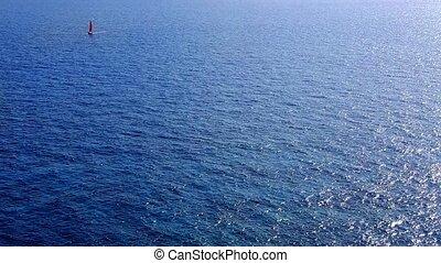 segelboot, segeln, in, tiefes meer