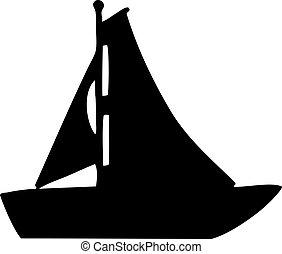 segelboot, silhouette