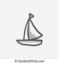 segelboot, skizze, ikone