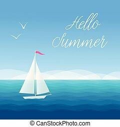 segelboot, sommer, hallo, wasserlandschaft
