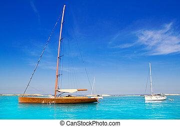 segelboot, türkis, formentera, sandstrand