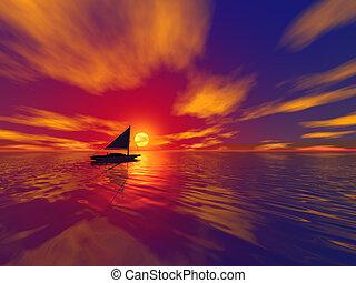segelboot, und, sonnenuntergang