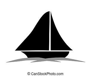 Segelboot zeichnung schwarz  Segelboot, vektor, silhouette, schwarz. Silhouette,... EPS ...