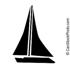 Segelboot zeichnung schwarz  Segelboot, silhouette. Segelboot, weißes, silhouette,... Vektor ...
