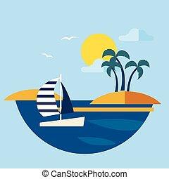 segelboot, wasserlandschaft, vektor, sommer