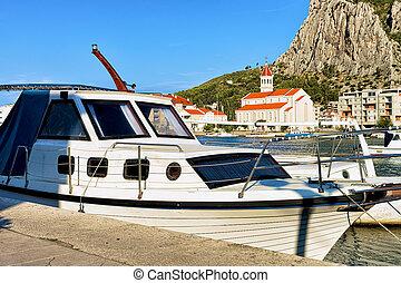 segelboote, an, porto , von, cetina, fluß, omis