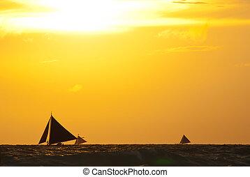 segelboote, auf, der, meer, unter, sonnenuntergang