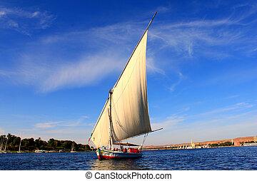 segelboote, fluß, schieben, nil