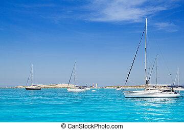 segelboote, türkis, formentera, sandstrand