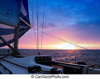 segeln, an, dämmerung