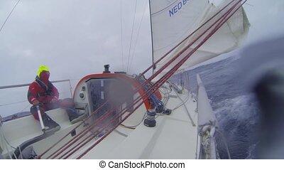 segeln, durch, rauh, meere
