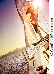 segeln, gegen, yacht, paßte, sepia, sunset., sailboat.