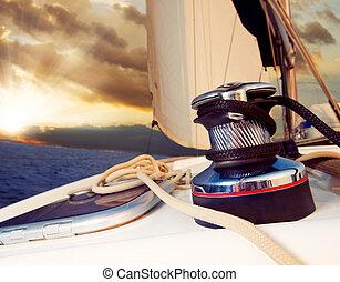 segeln, gegen, yacht, reise, sunset., sailboat.