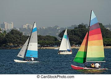 segeln, in, mission, bucht, 2