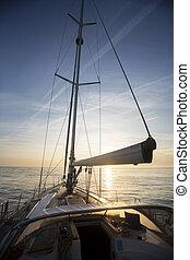 segeln jacht, sonnenuntergang, luxus, meer, während