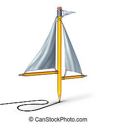 segeln, kreativität, metapher