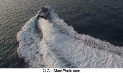 segeln, luxus, boot, ansicht, luftaufnahmen