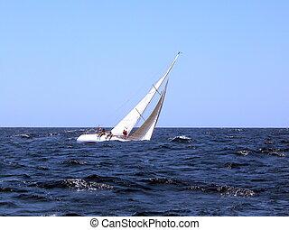 segeln, mit, starke , wind