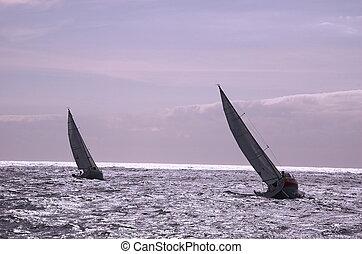 segeln, mit, wind