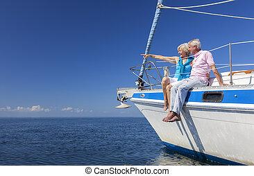 segeln, paar, segel, älter, boot, glücklich