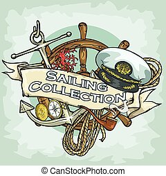 segeln, sammlung, etikett, probe, text, nautisch