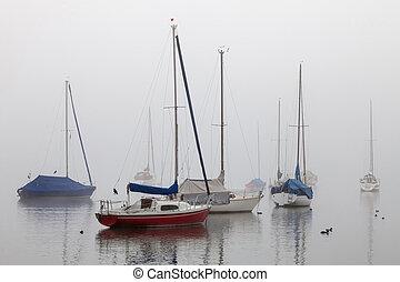 segeln schiffen, in, nebel