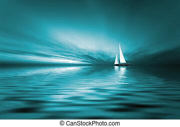 segeln, und, sonnenuntergang