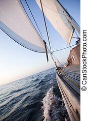 segeln, zu, der, sonnenaufgang, sommerzeit, gesättigt, bunte, thema