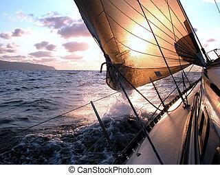 segeln, zu, der, sonnenaufgang