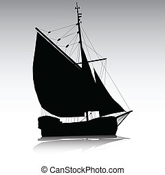 segelschiff, silhouetten