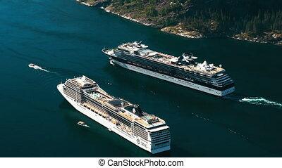 segeltörn, linienschiffe, auf, fjord, norwegen