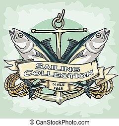 segla, kollektion, etikett, prov, text, nautisk