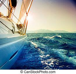 segla, mot, yacht, toned, sepia, sunset., sailboat.