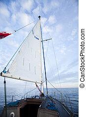 segla, till, den, soluppgång, sommartid, genomdränktt, färgrik, tema