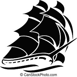segla, vektor, skepp, gammal, illustration, grafisk, lång