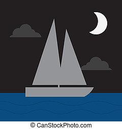 seglats båt, måne