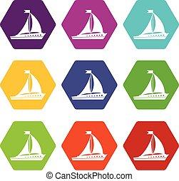 segling skeppa, ikon, sätta, färg, hexahedron