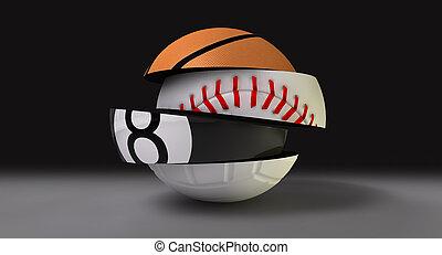 segmenté, balle, rond, fragmenté, sports